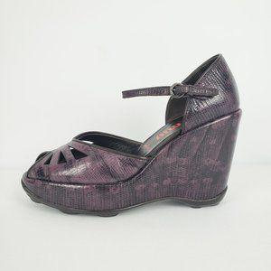 Miu Miu Purple Leather Wedge Sandals Size 6